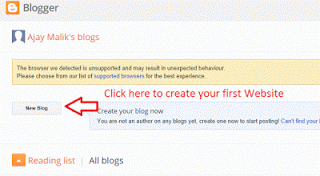 Create new blog blogger.com