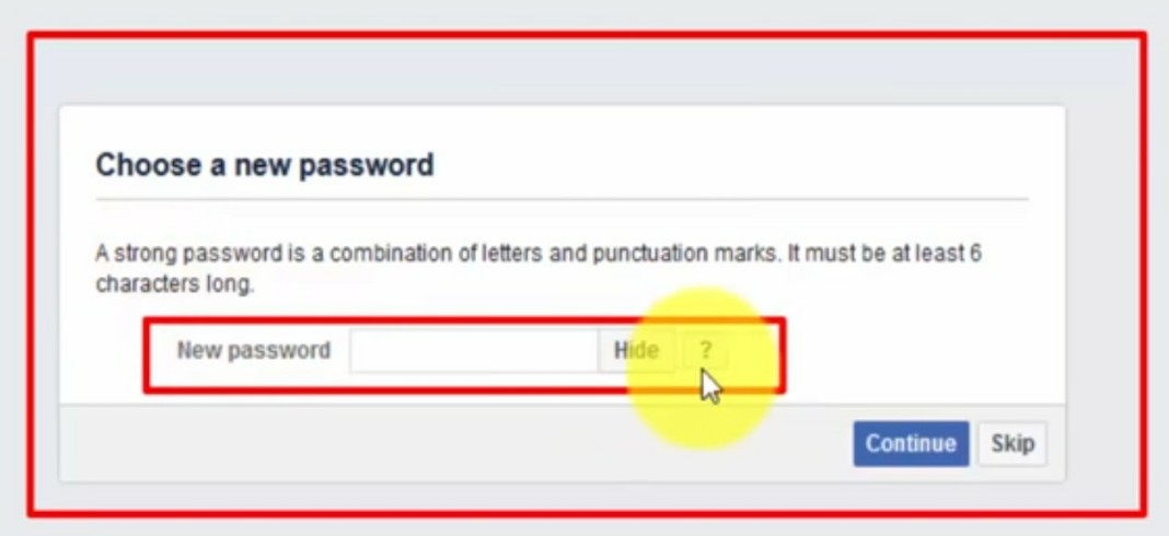 Facebook new password generator
