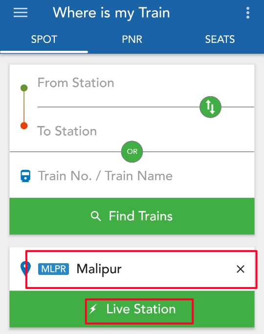 Where is my train mobile app se Train ka Status check