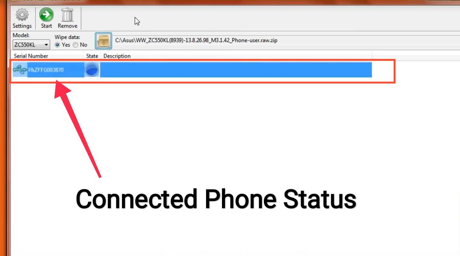 Connected Status asus Zenfone to asus flash tool